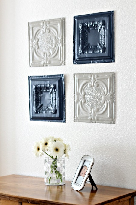 To hang them up I just hot glued some sawtooth hangers to the back. I love the way they turned out. These little vintage pieces really give the room a great ... & Tin Ceiling Tiles Wall Art