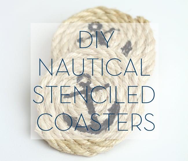 DIY Nautical Stenciled Coasters