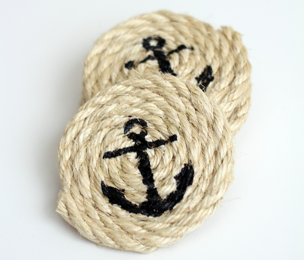 Nautical Stenciled Coasters