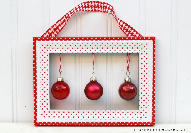 Making Home Base Dollar Store Frame Washi Tape Holiday Wall Hanging