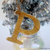 Making Home Base Monogram glitter ornament