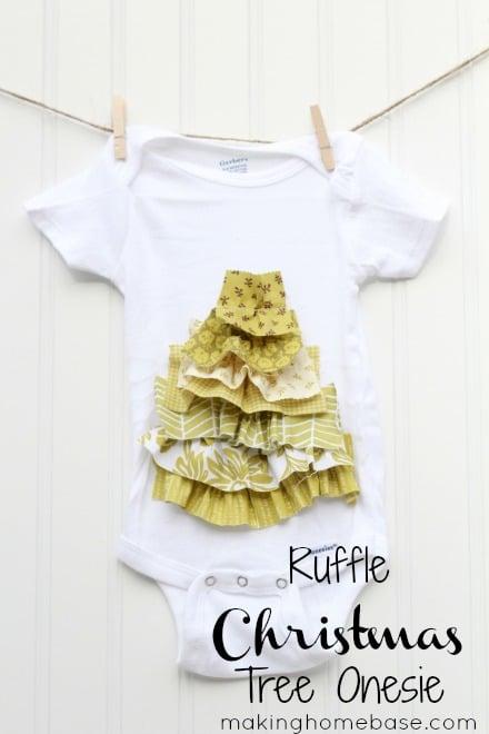 Ruffle Christmas Tree Onesie Makinghomebase.com