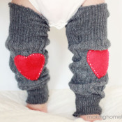 Heart patch sweater leg warmers
