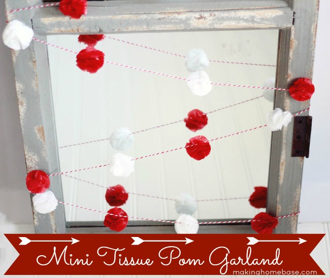 Making Home Base Mini Tissue Pom Garland