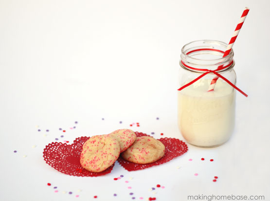 Making Home Base V Day Snicker doodle cookies