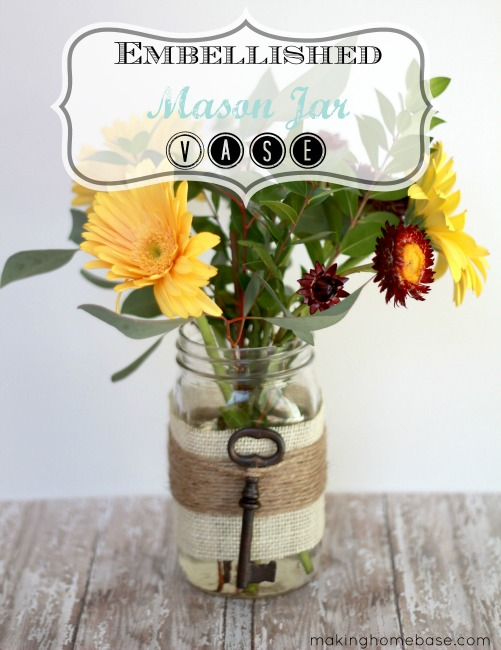 Embellished Mason Jar Vase for Spring