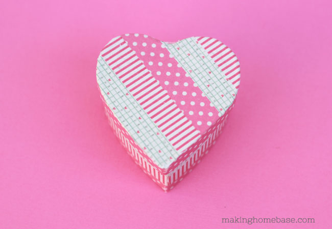 Washi Tape Covered Heart Box Valentines