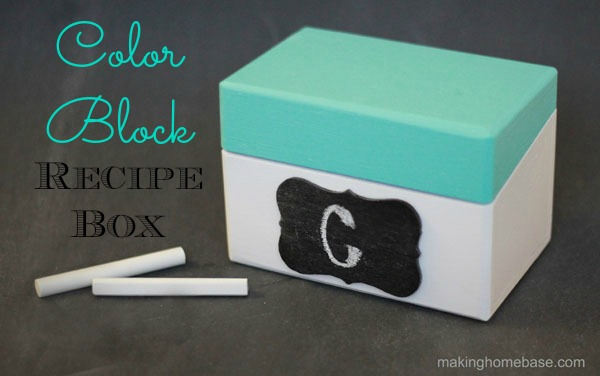 Recycled Color Block Recipe Box