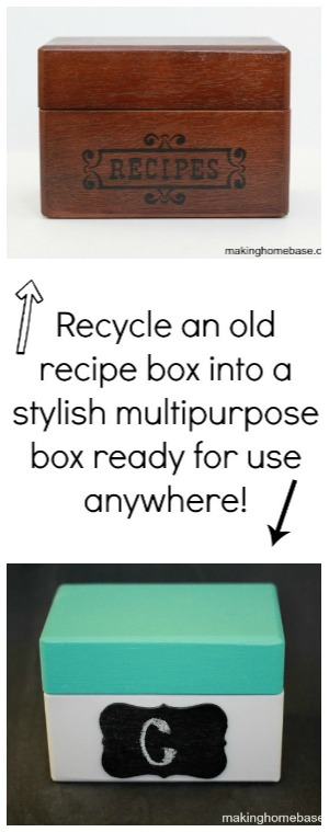 Recycle an old recipe box into a stylist multipurpose box ready for use anywhere!