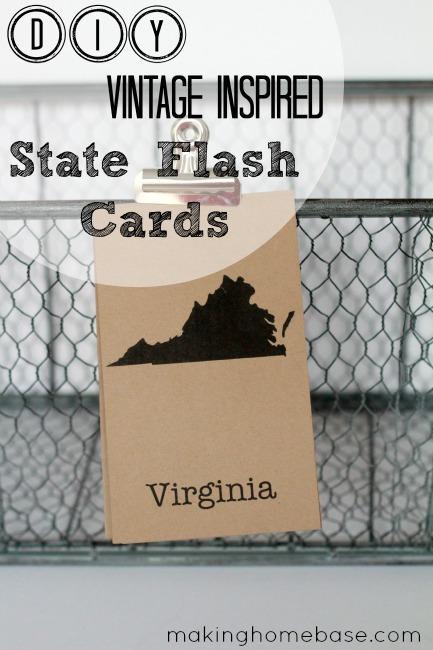 DIY Vintage Inspired State Flash Cards