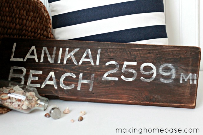 Lanikai beach salvage wood sign