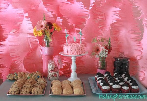 pink and aqua first birthday