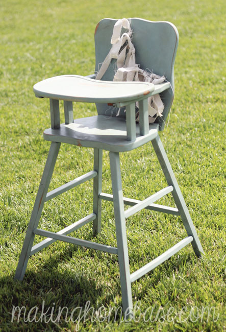 Vintage Wooden High Chair Painted with Annie Sloan Chalk Paint