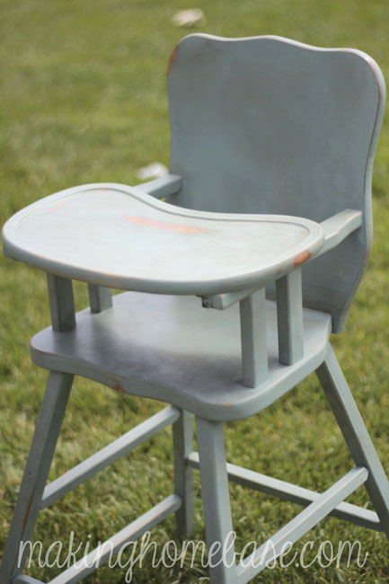 Vintage Wooden High Chair Painted with Annie Sloan Chalk Paint - Wooden High Chair With Annie Sloan Chalk Paint