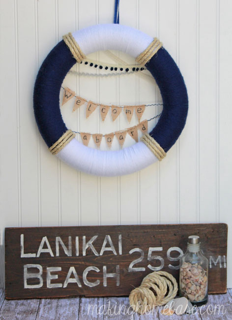 welcome aboard summer nautical wreath
