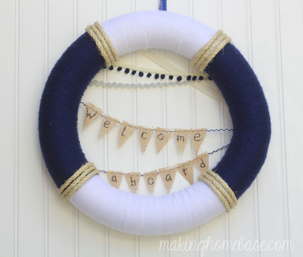 welcome aboard summer nautical wreath