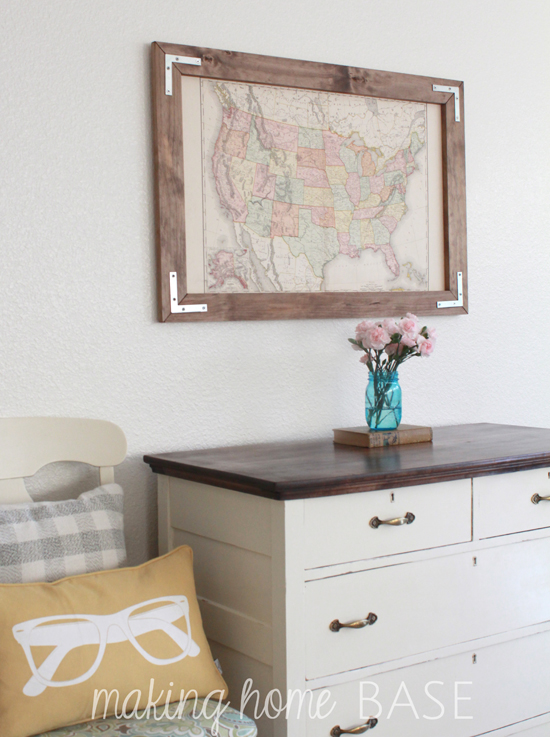 Vintage Map in a DIY Rustic Frame