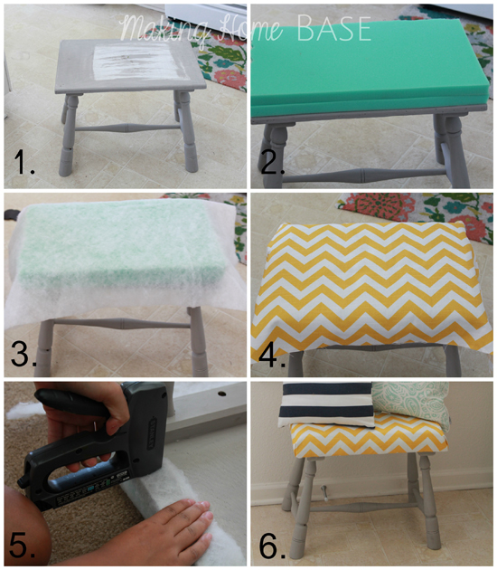 DIY Upholstered Footstool Tutorial