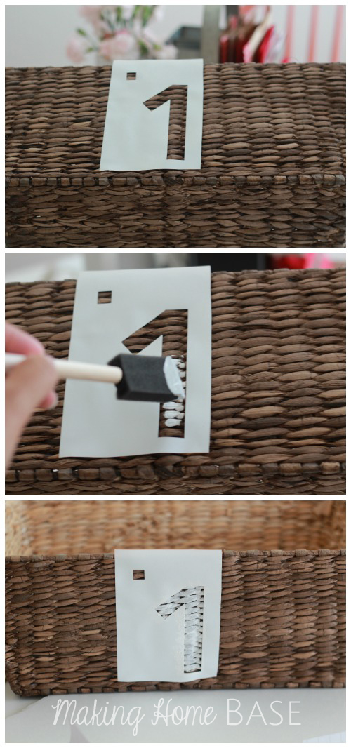 Update Existing Baskets with Stain and Stencils