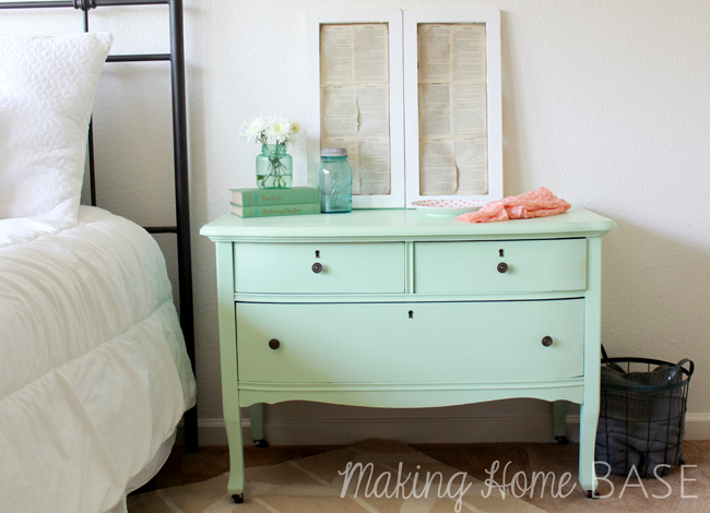 Painting Furniture - Mint Painted Nightstand