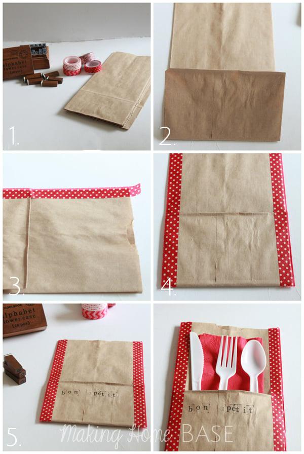 paper bag picnic utensil holder