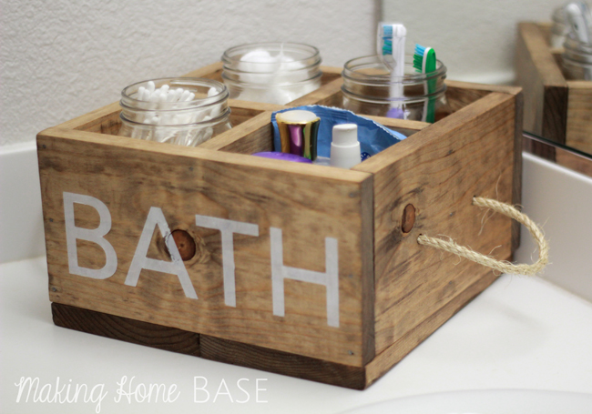 Wood Caddy with Rope Handles for the Bathroom - Making Home Base