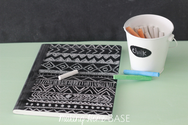 Making Home Base Chalk board notebook