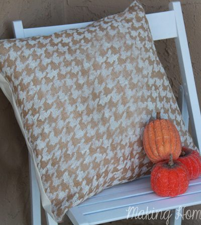Fall Decor: Burlap Stenciled Outdoor Pillow