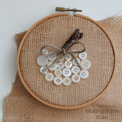 burlap and button hoop
