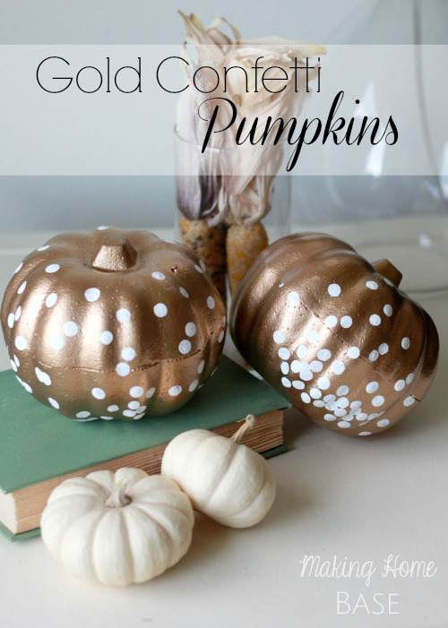 Pumpkin Decorating Ideas: Gold Confetti Pumpkins