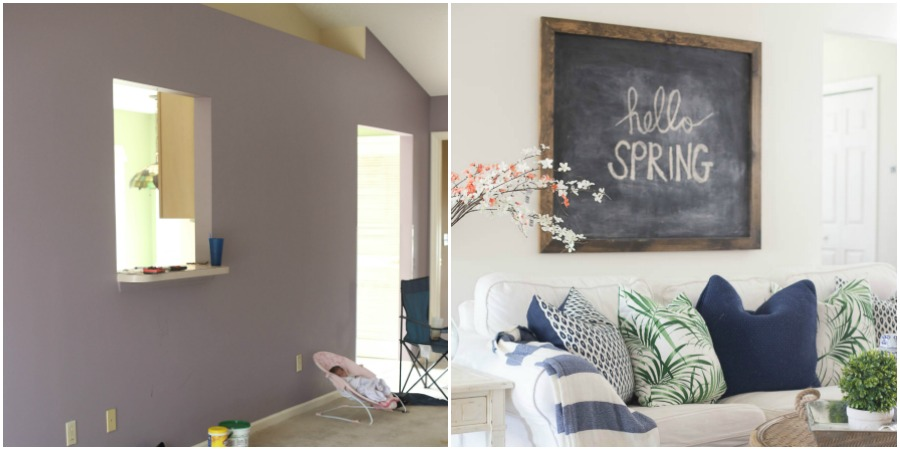 Living Room before and after home tour