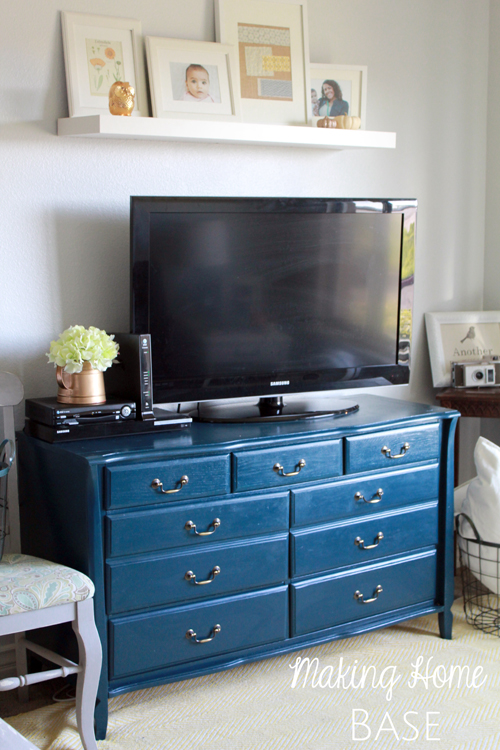 Navy Painted Media Stand Repurposed Dresser Making Home