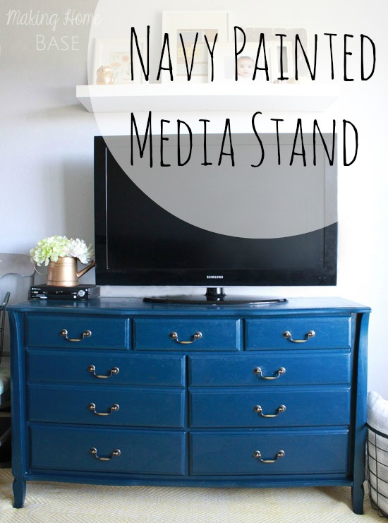 Navy Painted Media Stand