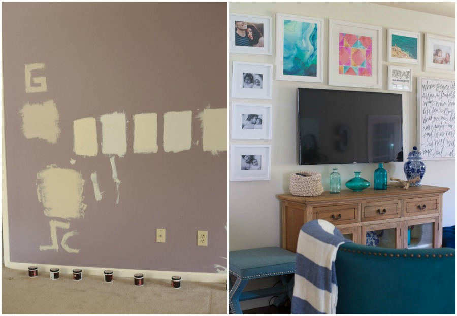 TV wall before and after home tour