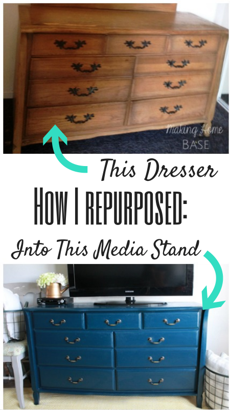 Navy Painted Media Stand: Repurposed Dresser - Making Home ...