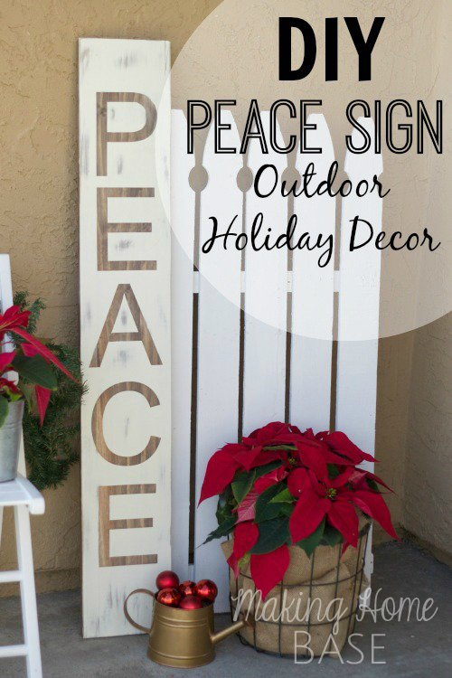 DIY Peace Sign Outdoor Holiday Decor.