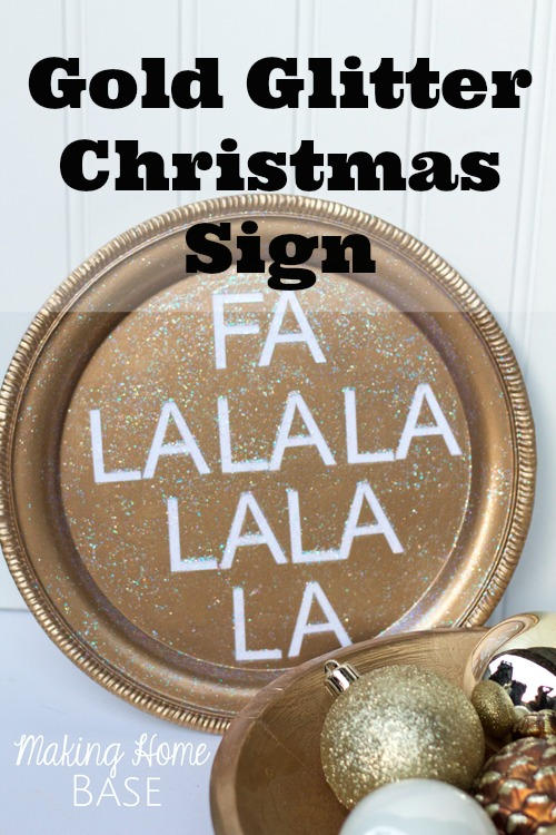 Gold Glitter Christmas Sign