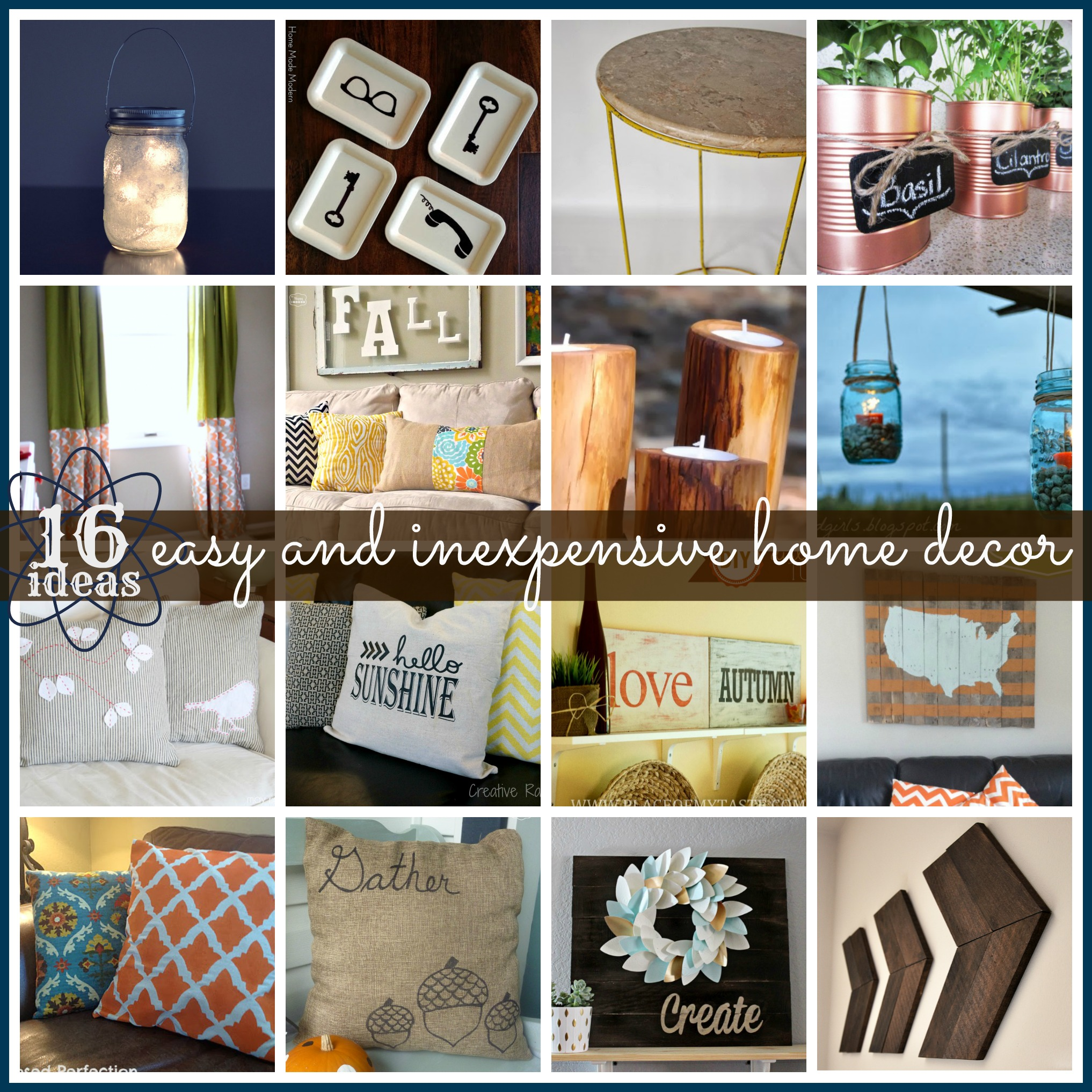 Simple Home Art Decor Ideas: Link Party Features [16 Inexpensive & Easy Home Decor