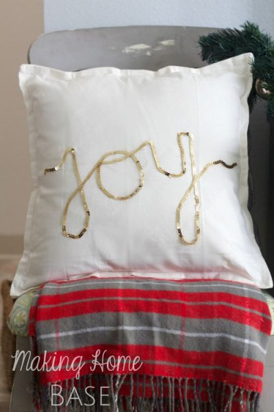 DIY Gold Sequins JOY Pillow