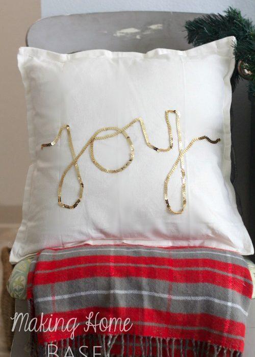 Holiday Pillow Ideas: Gold Sequins JOY Pillow