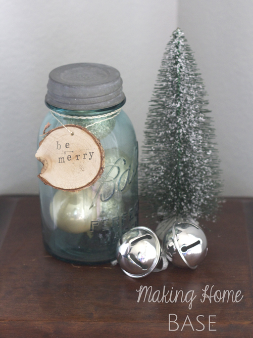 mason jar with ornaments