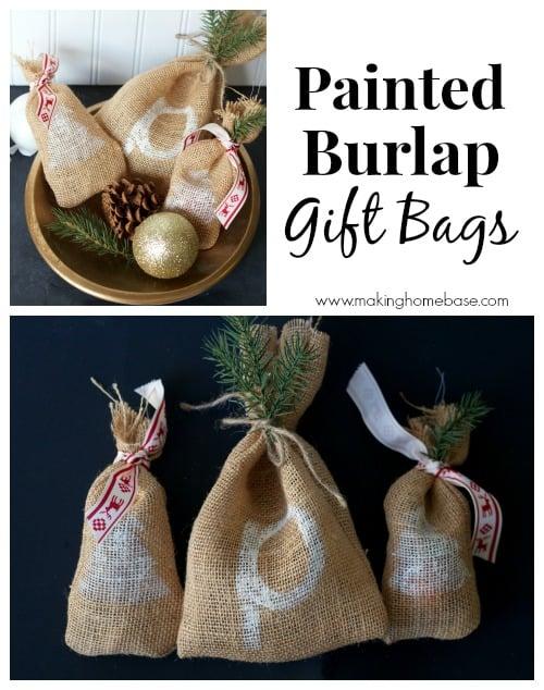 painted burlap gift bags