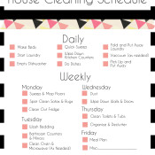 Basic Cleaning Schedule Checklist