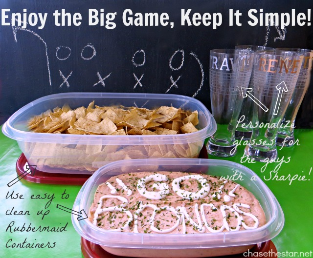 Enjoy-the-Big-Game-Keep-It-Simple-via-ChaseTheStar-Superbowl-GameDay-RubbermaidSharpie-PMedia-ad-craft-party-beanDip-Recipe