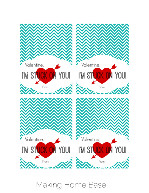 Stuck On You Valentine Printable