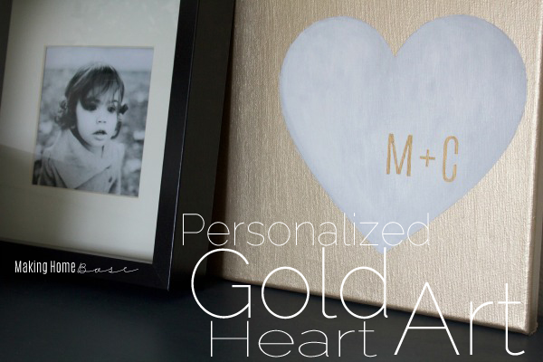 "Personalized Art Gold Heart ""Couples Art"""
