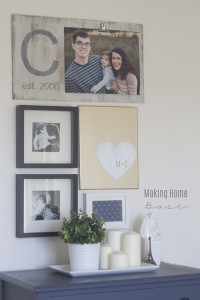 small gallery wall with monogram photo board