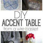 DIY Accent Table From A Wire Basket
