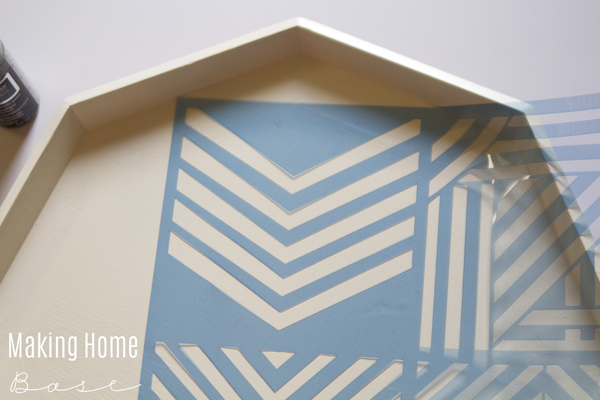 Stenciled Thrift Store Octagon Tray
