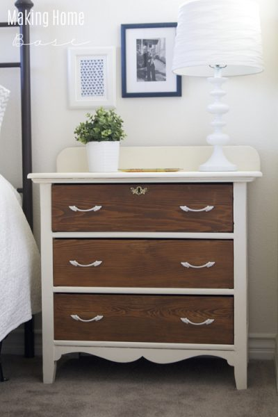 Two Toned Nightstand White and Wood